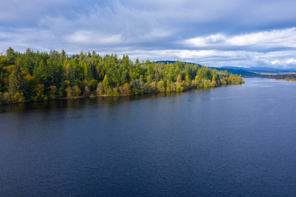 The drone view of forest growing beside a Scottish loch in Dumfries and Galloway south west Scotland. The view from a drone as it is flown over a Scottish loch towards mixed woodland. The image was captured on an autumn morning, some of the trees have started to show their autumn colours. johnfscott stock pictures, royalty-free photos & images
