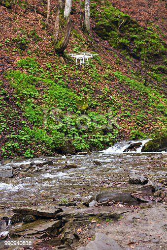 istock The drone with the professional camera takes pictures 990940838