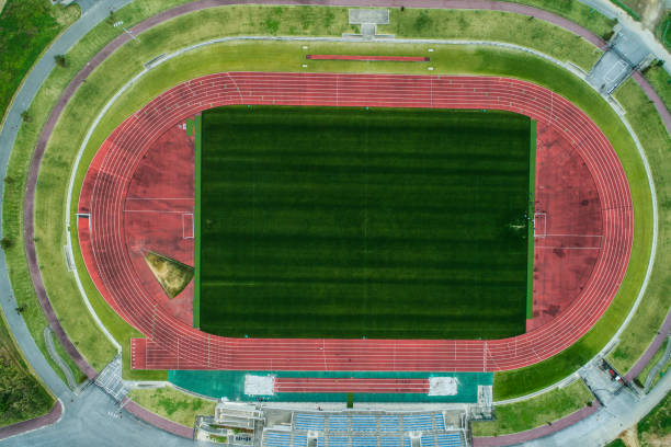 The drones' viewpoint of the stadium. stock photo
