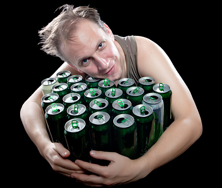 The Drunk Man And Is Lot Of Empty Beer Cans Stock Photo - Download Image  Now - iStock