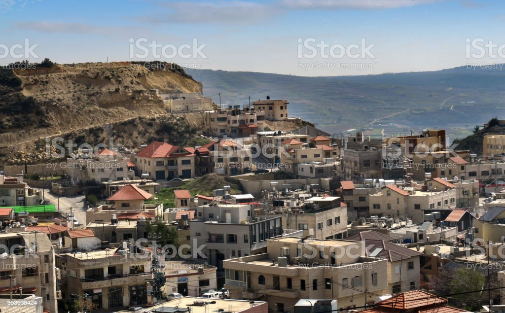 The Druze city of Majdel Shams in the Golan Heights, Israel stock photo