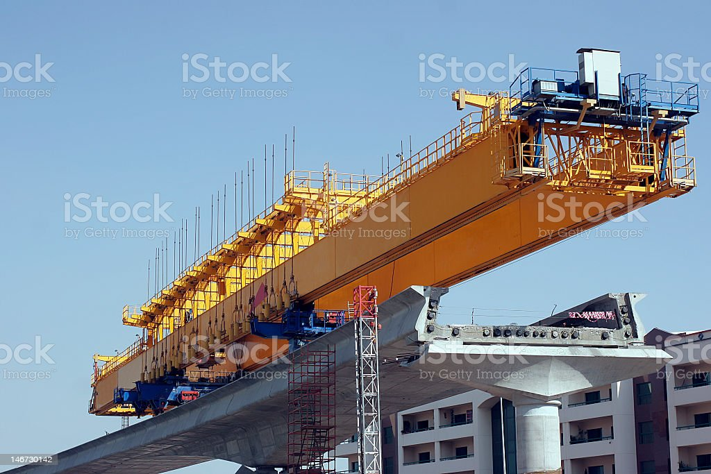 The Dubai metro being constructed  stock photo
