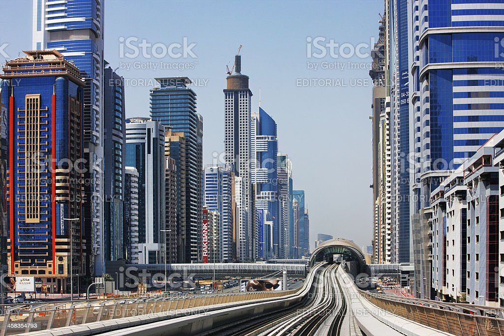The Dubai Metro is becoming increasingly popular stock photo