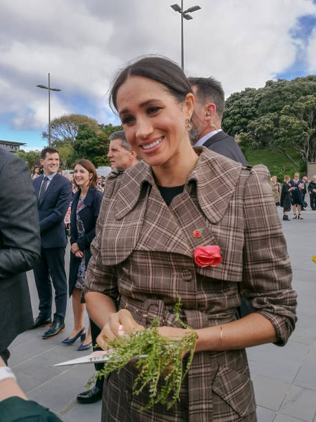 the duchess of sussex chats with a member of the crowd at the wellington war memorial in new zealand. - meghan markle стоковые фото и изображения