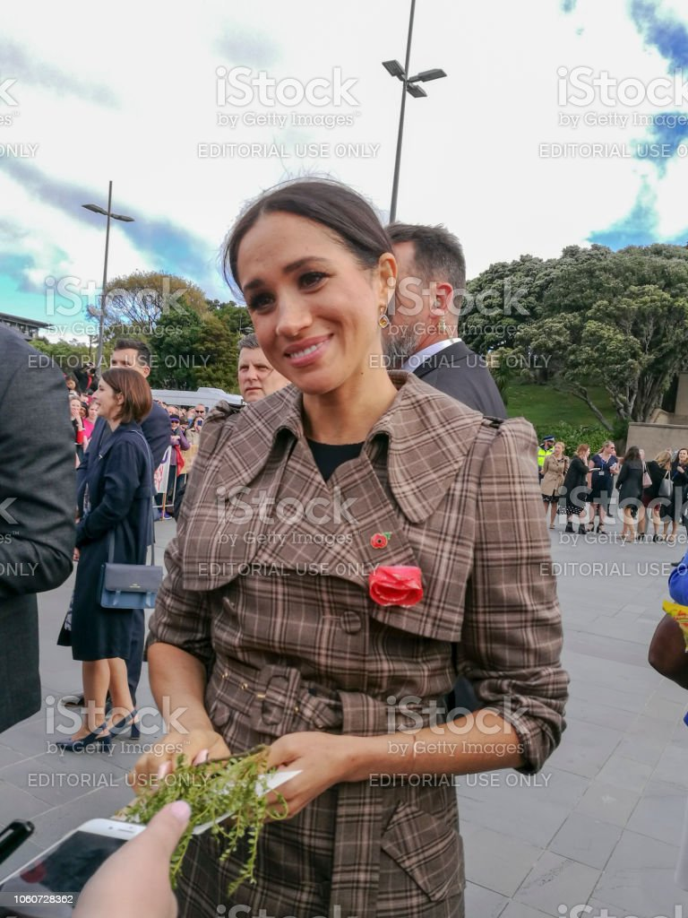 The Duke and Duchess of Sussex chat with members of the crowd at the Wellington War Memorial in New Zealand. - Стоковые фото Meghan - Duchess of Sussex роялти-фри