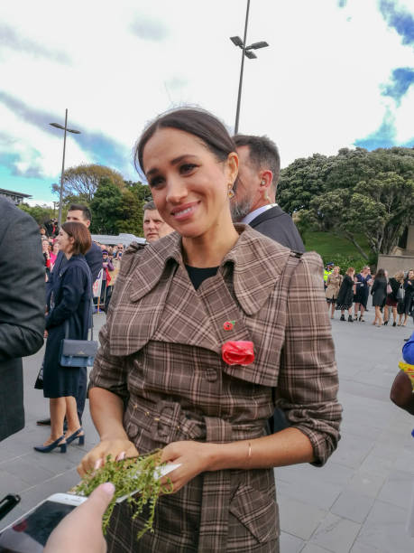 the duke and duchess of sussex chat with members of the crowd at the wellington war memorial in new zealand. - meghan markle стоковые фото и изображения