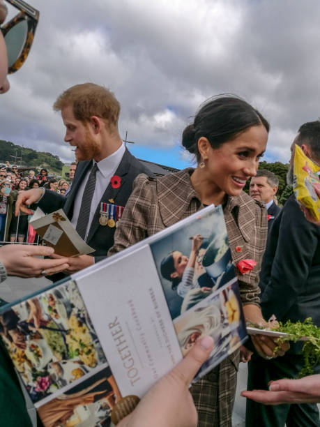 the duke and duchess of sussex chat with members of the crowd at the wellington war memorial in new zealand. - duchessa foto e immagini stock