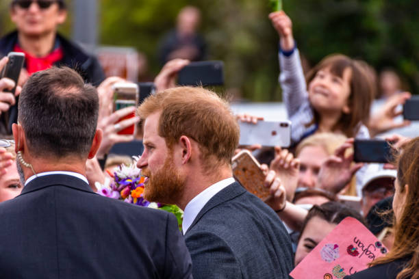 the duke of sussex chat with members of the crowd at the wellington war memorial in new zealand. - principe harry foto e immagini stock
