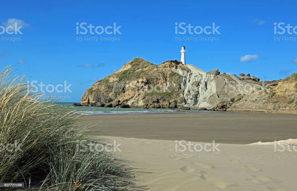 The dune and Castlepoint lighthouse stock photo