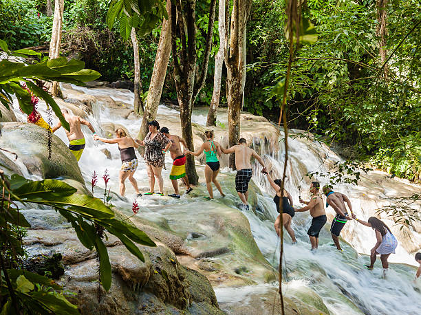 The Dunn's River Falls in Jamaica.