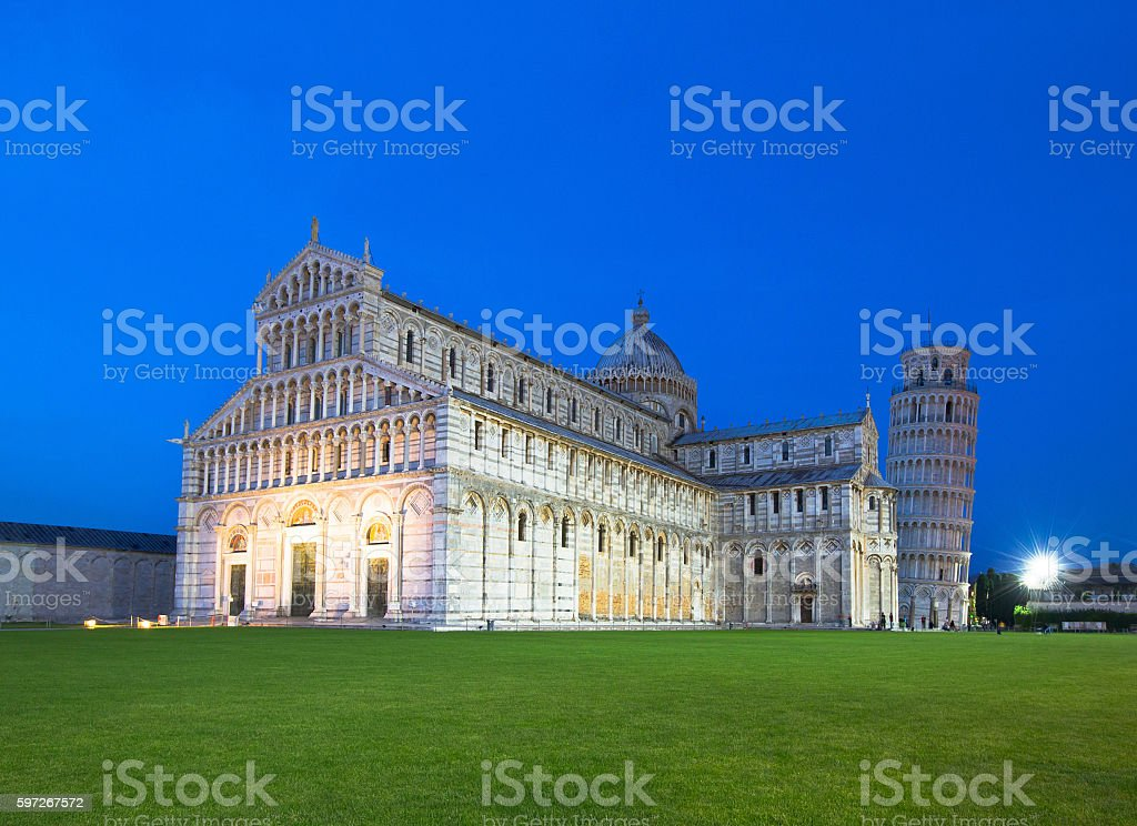 The Duomo and Leaning Tower of Pisa at dusk royalty-free stock photo