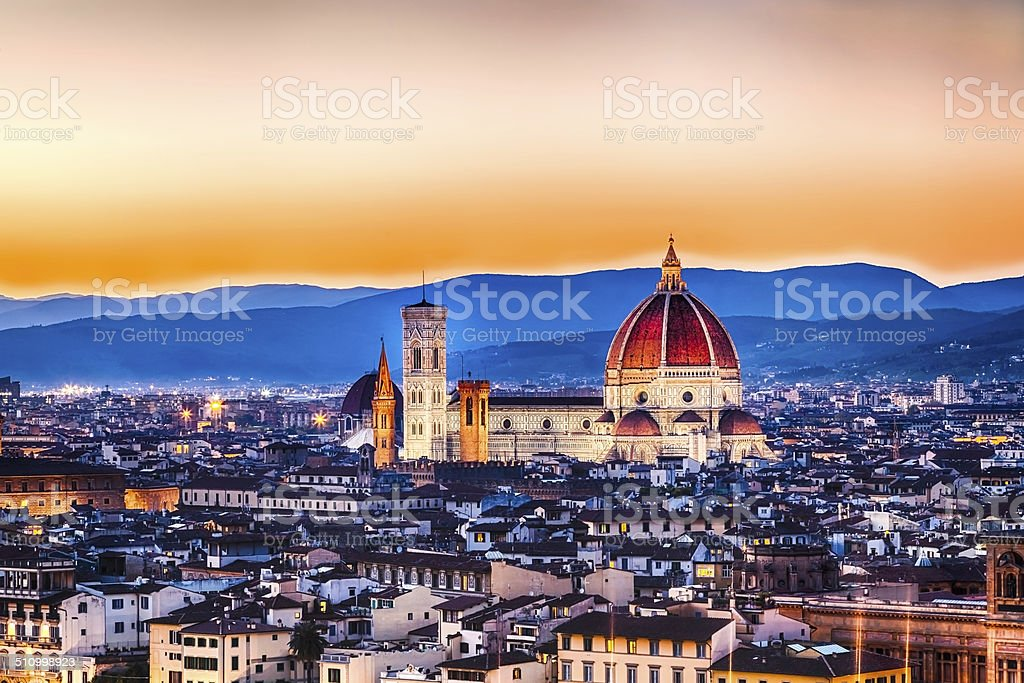 The Duomo of Florence at Sunset - Italy stock photo