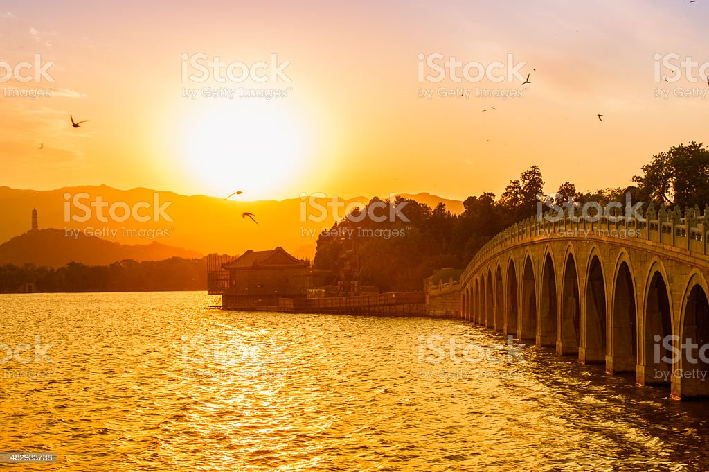 The dusk in Summer Palace stock photo