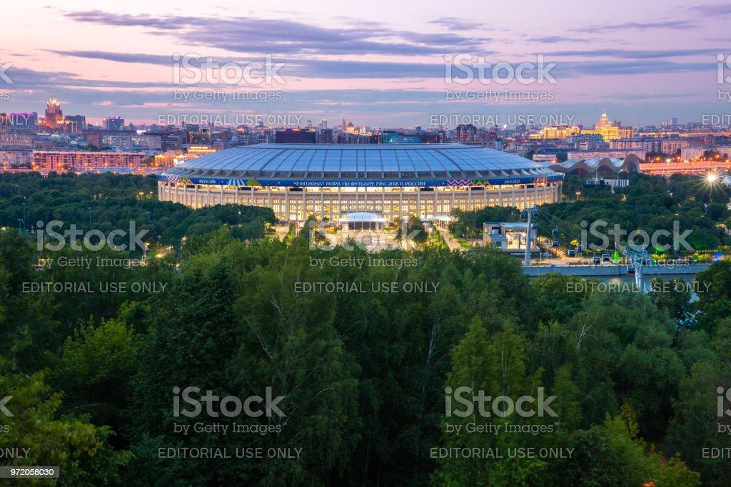 The dusk view of Luzhniki Stadium, Moscow, Russia stock photo