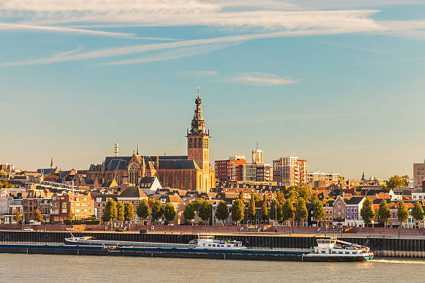 The Dutch city of Nijmegen during sunset stock photo