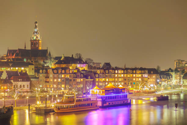The Dutch city of Nijmegen with the flooded river Waal in front stock photo