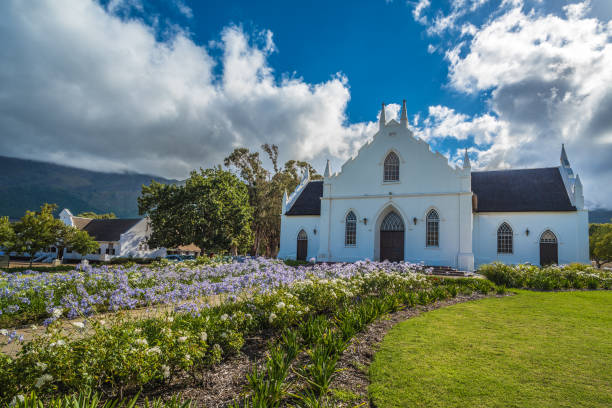 The Dutch Reformed Church in Franschhoek, South Africa. stock photo