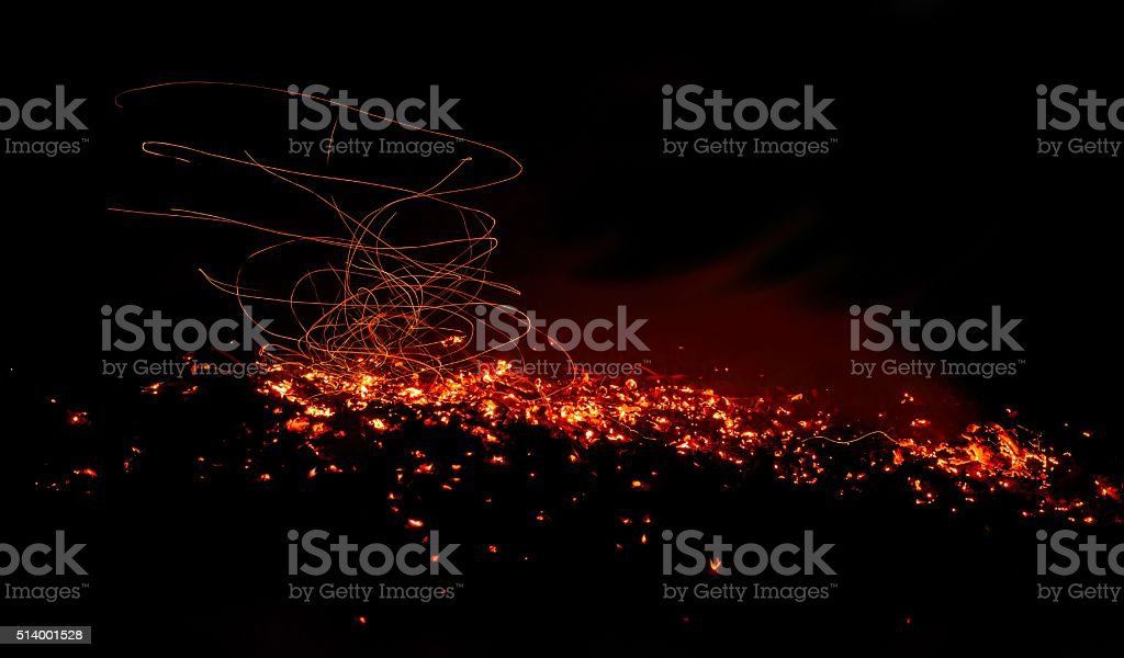 The dying campfire in the breeze stock photo