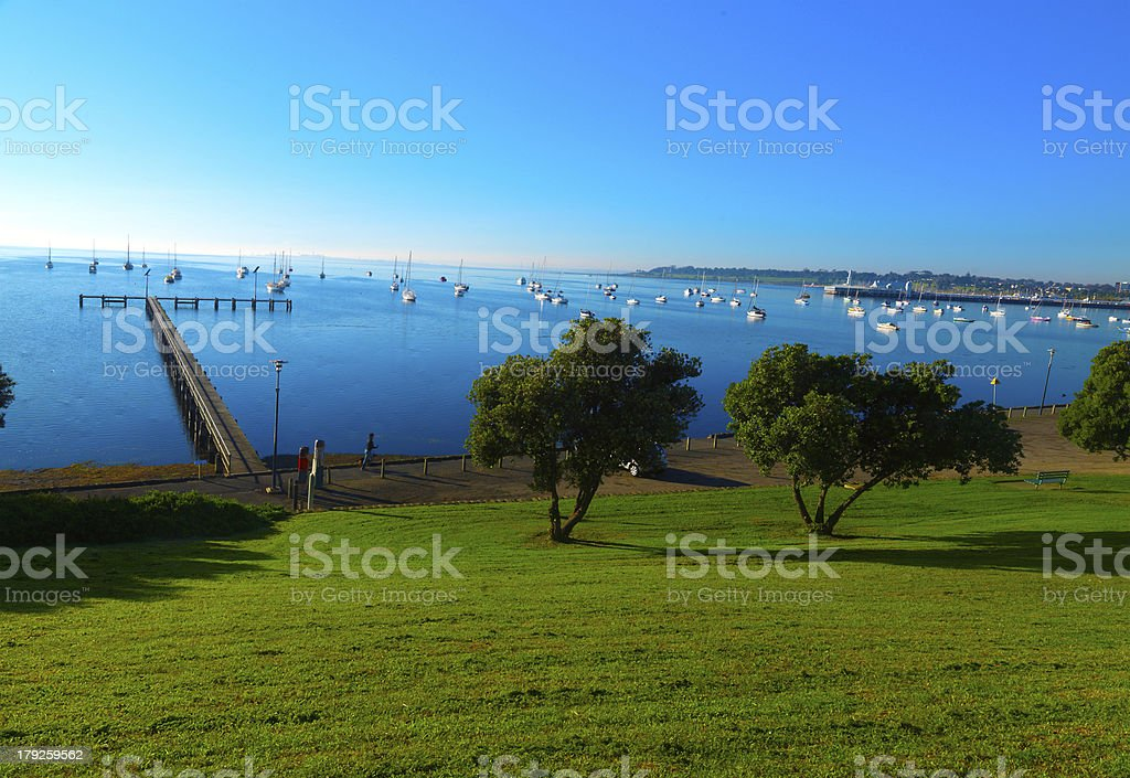 The early morning on the Geelong coastline stock photo
