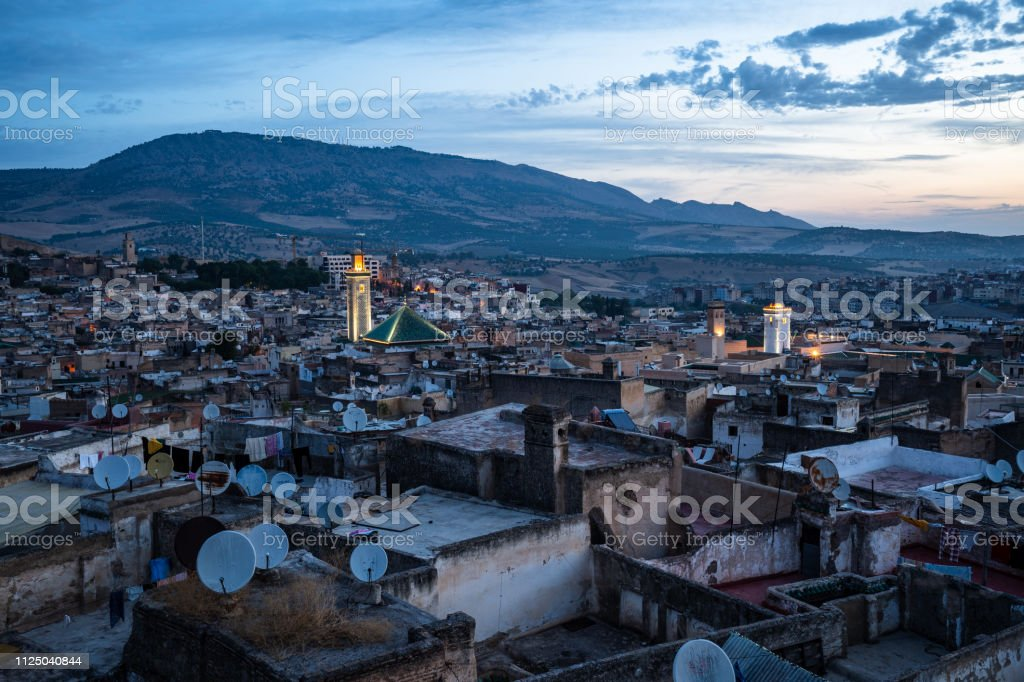 The early morning view of the medina in Fes, Morocco stock photo