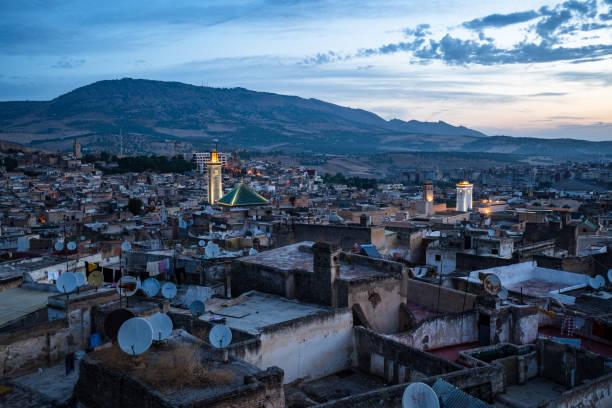 モロッコ、フェズのメディナの早朝ビュー ストックフォト