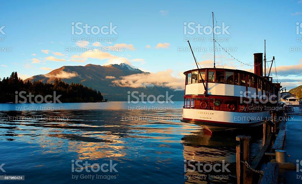 The Earnslaw And Lake Wakatipu At Dawn stock photo