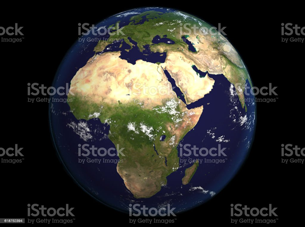 The Earth from space showing Europe and Africa render illustration. stock photo