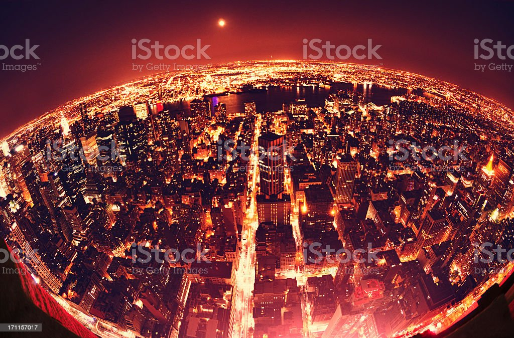 The Earth Globe from Manhattan in night - NYC royalty-free stock photo