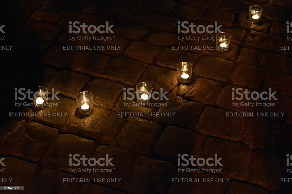 The Earth hour in Lviv, Ukraine stock photo