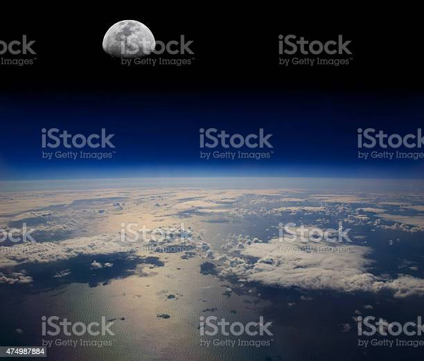 Photo of The Earth in space and the Moon