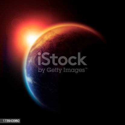 Concept image of the earth Slowly Burning with pollution and global warming. Earth based on Nasa image.