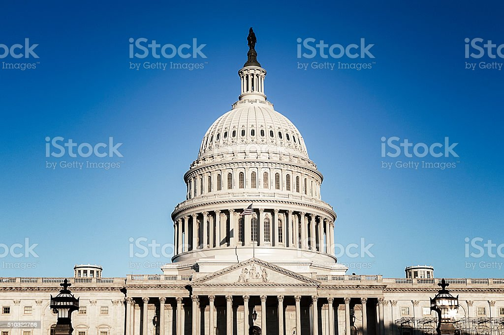 The East Front of the United States Capitol Close Up stock photo