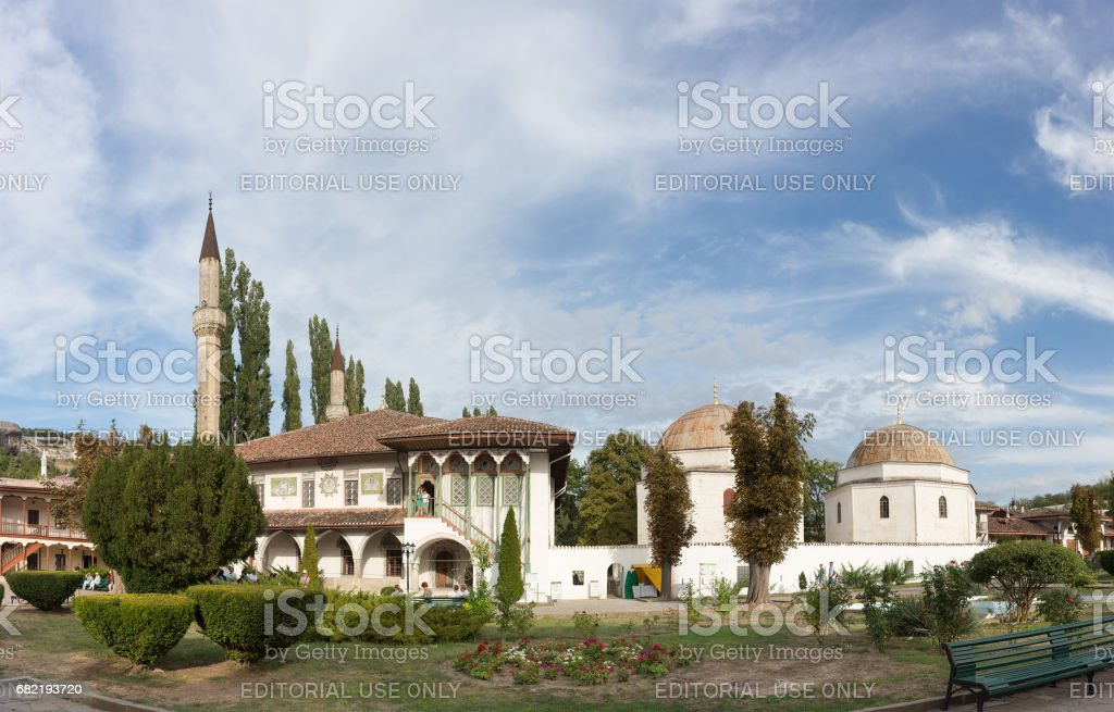 The East wing and Park of the Khan's Palace. stock photo