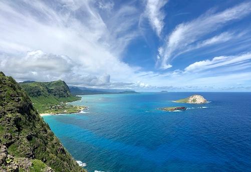 The beautiful eastern coast line of Oahu Island, from the watching point of Makapuu Point, Hawaii, USA