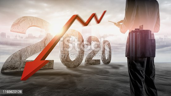 93070459 istock photo The economic crisis of 2020. Red arrows fall to the ground, indicating the economic recession that will occur in 2020. 1193620126