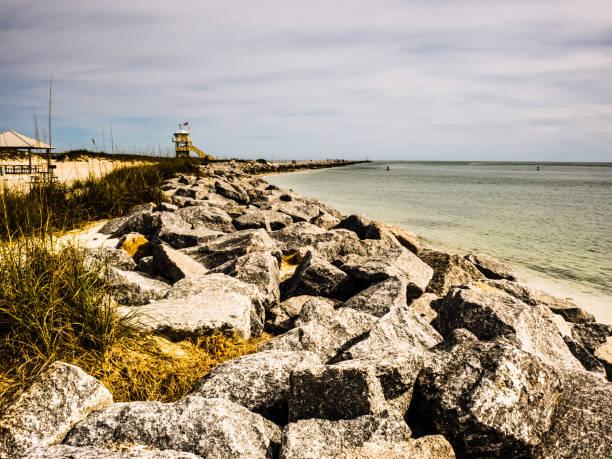 The edge of the rocky ocean. stock photo