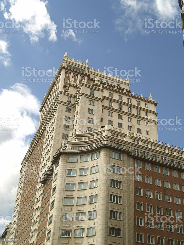 The Edificio Espana Building, Madrid  - A side view royalty-free stock photo