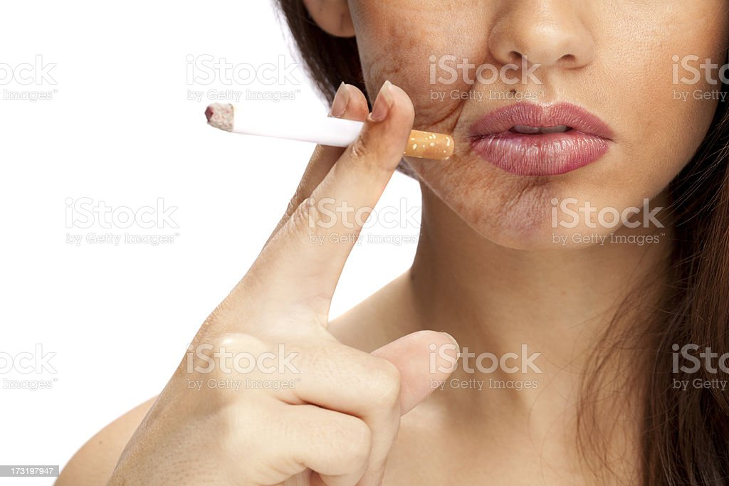 The effects of smoking (Area on Face is Aged) stock photo