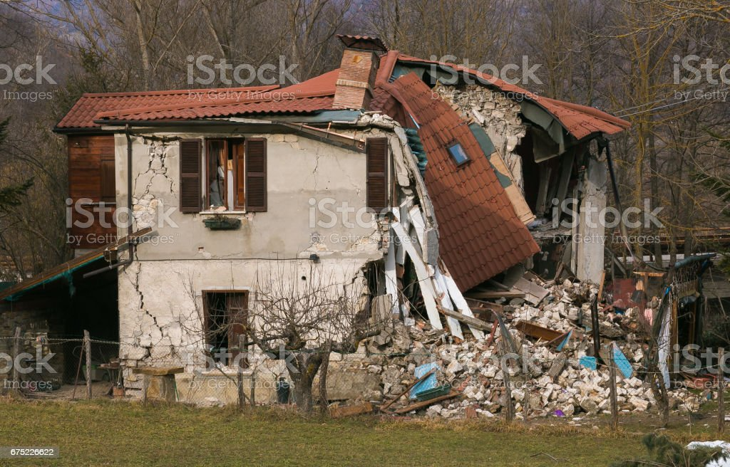 The effects of terrible central Italy earthquake stock photo