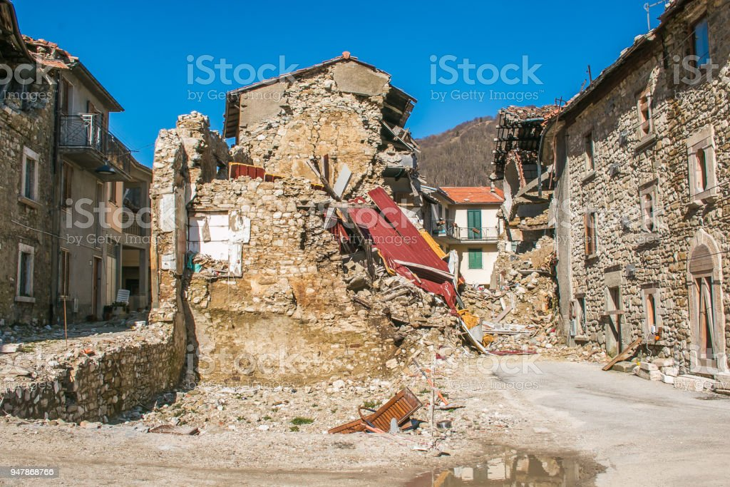 The effects of terrific earthquake of central Italy in the historic mountain village stock photo
