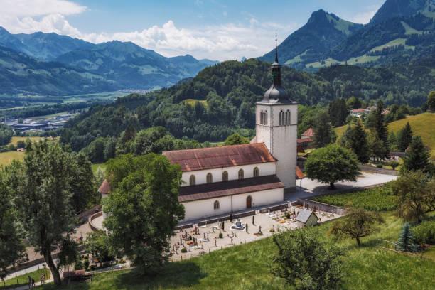 The Eglise Saint Theodule and Saane valley - Gruyeres, Suisse - Photo