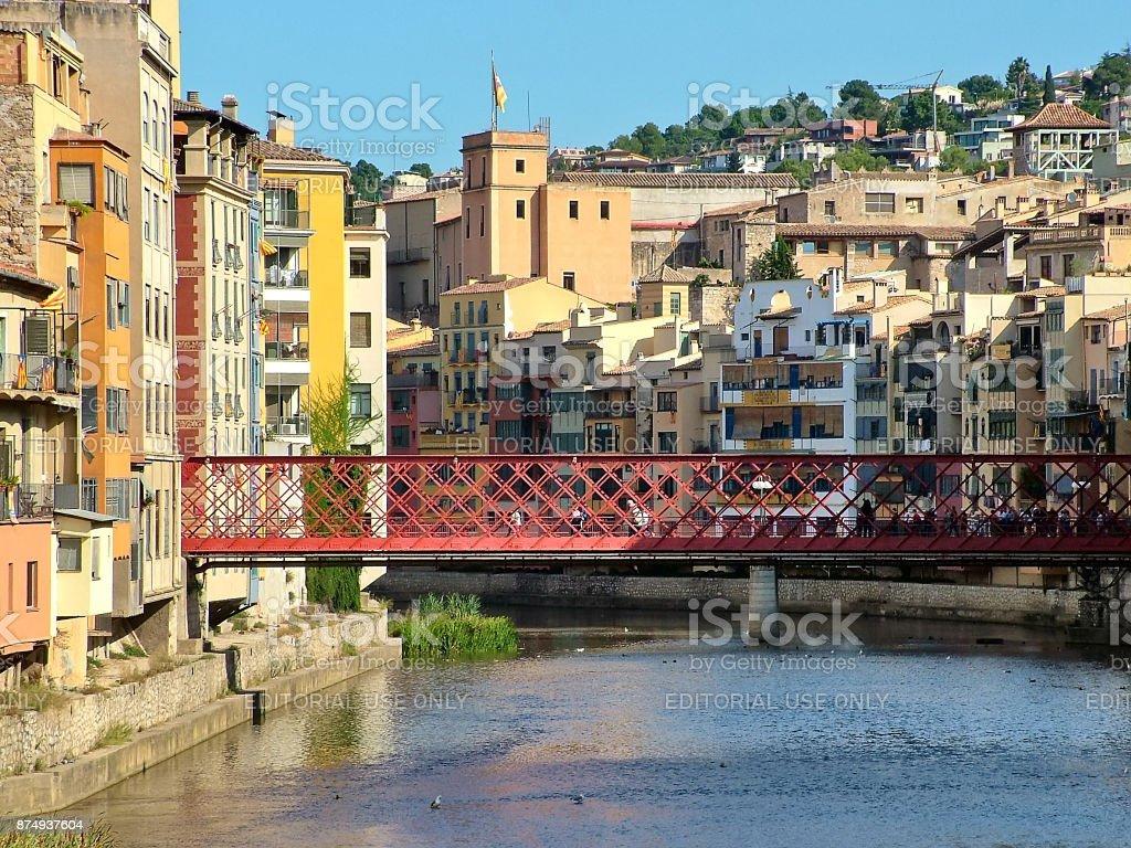The Eiffel Bridge  across the Onyar River in Girona, Spain stock photo