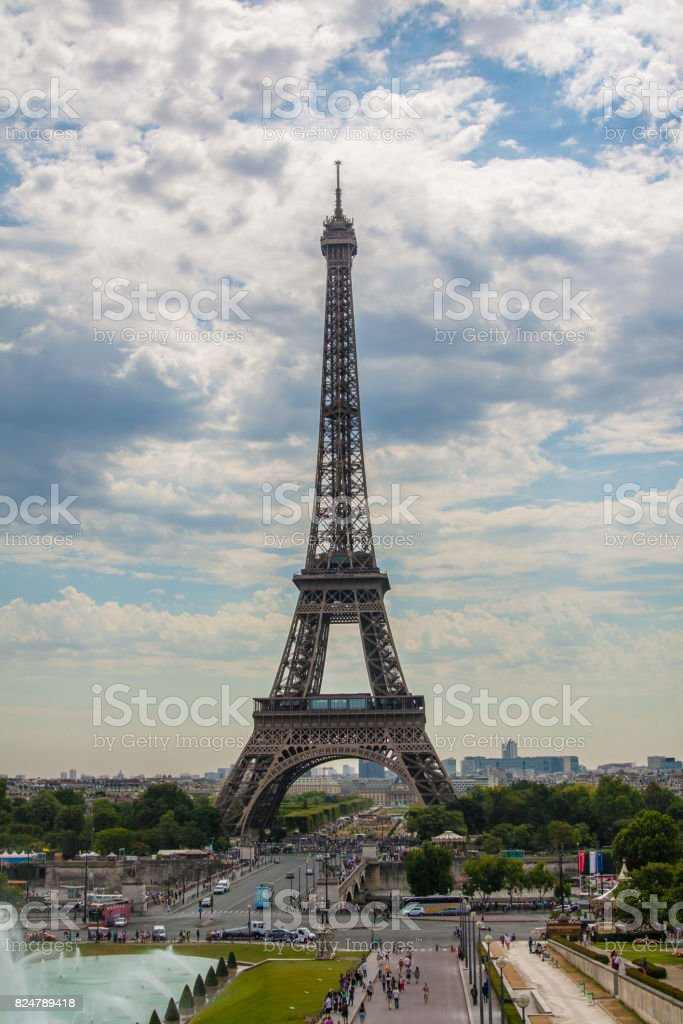 The Eiffel Tower-  a wrought iron lattice tower on the Champ de Mars in Paris, France. stock photo