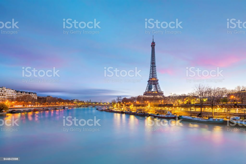 The Eiffel Tower and river Seine at twilight in Paris stock photo