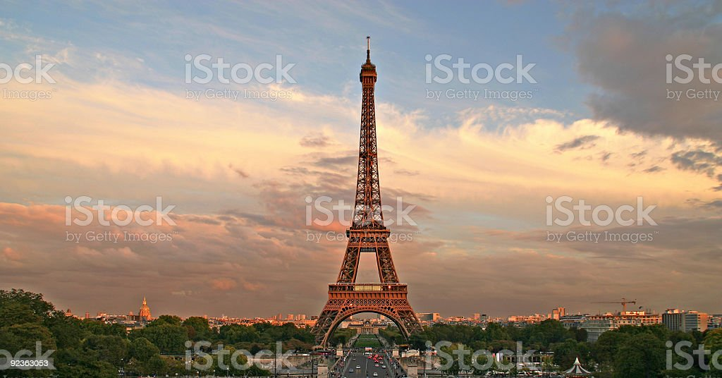 The Eiffel Tower at sunset, Paris, France royalty-free stock photo