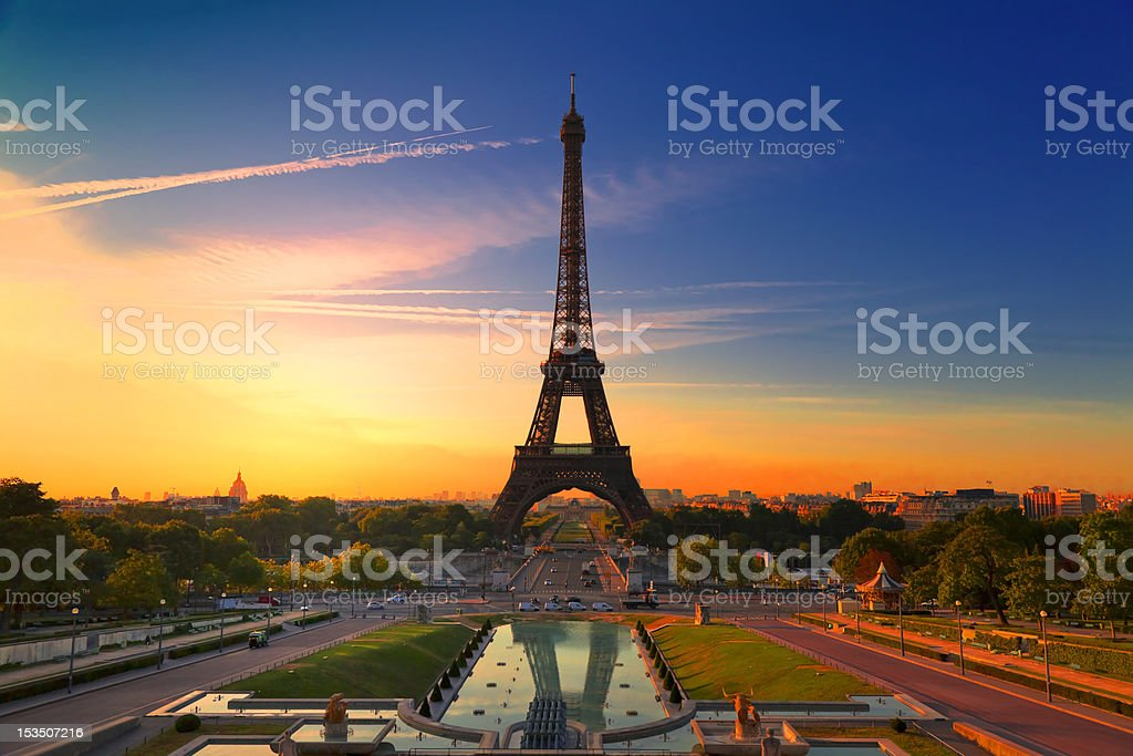 The Eiffel Tower in Paris, France at dawn stock photo