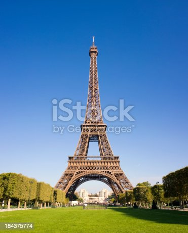 The Eiffel Tower on a clear blue sky summers day in Paris, France.