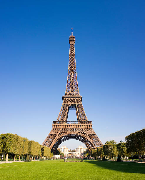 the eiffel tower in paris france - eiffel tower stock photos and pictures