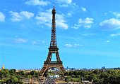 Paris, France - September 06, 2019. The Eiffel Tower in the Champ de Mars in sunny day.