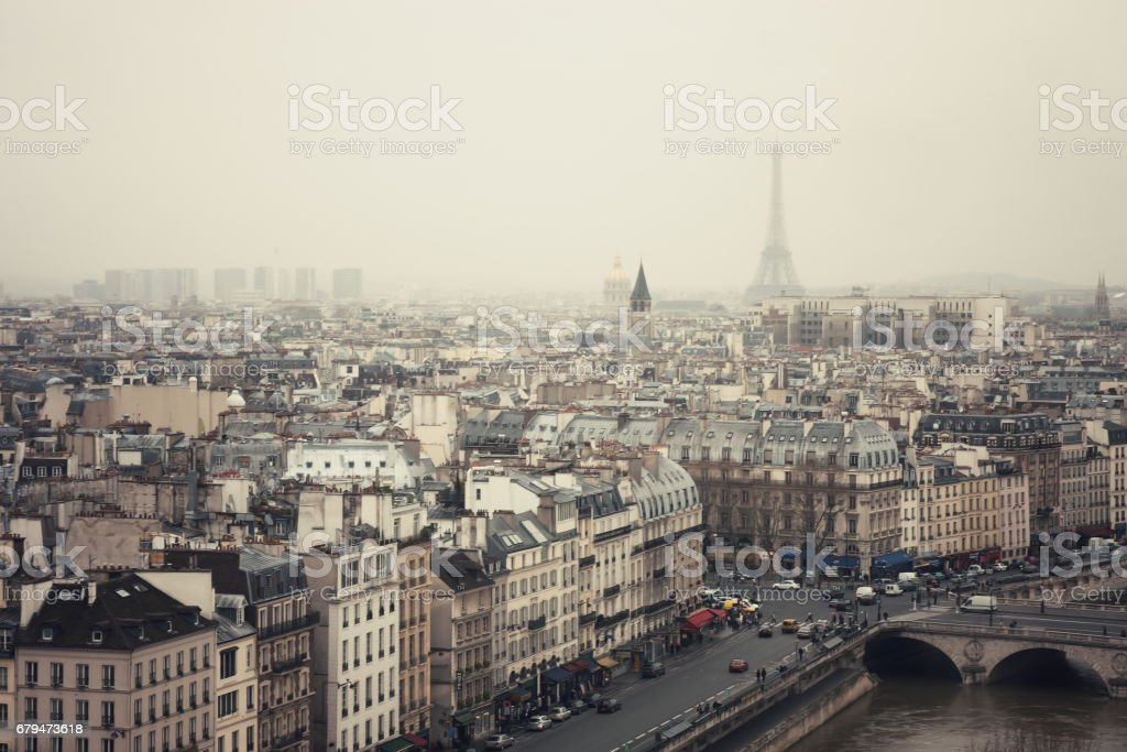 The Eiffel Tower in the Fog royalty-free stock photo